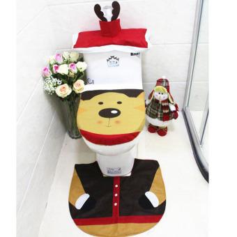 3Pcs/set Fashion Deer Toilet Seat Cover Bathroom Mat Set Durable Tank Cover and Contour Rug Christmas Decorations