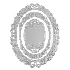 3Pcs/set Oval Flower Frame Metal Cutting Dies Stencils for Scrapbooking Paper Cards Decorative Embossing