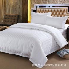 3pcs/Set 100% Cotton Hotel Bedding Set White Luxury Satin Stripe Bed Linen (