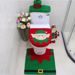 3Pcs/set Fashion Europe Christmas Foot Mat Cartoon Elf Toilet Seat Cover Decorative Tank Lid and Tissue Box  Washable Home Textile