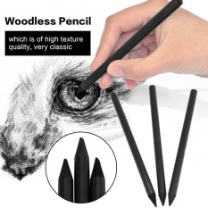 3pcs/set Full Charcoal Woodless Artist Pencil For Drawing Sketching Painting Stationery Black - intl