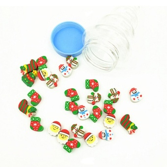 4-40 Pack Christmas Santa Tree Pencil Rubber Eraser Stationery Favor Child Gift - intl