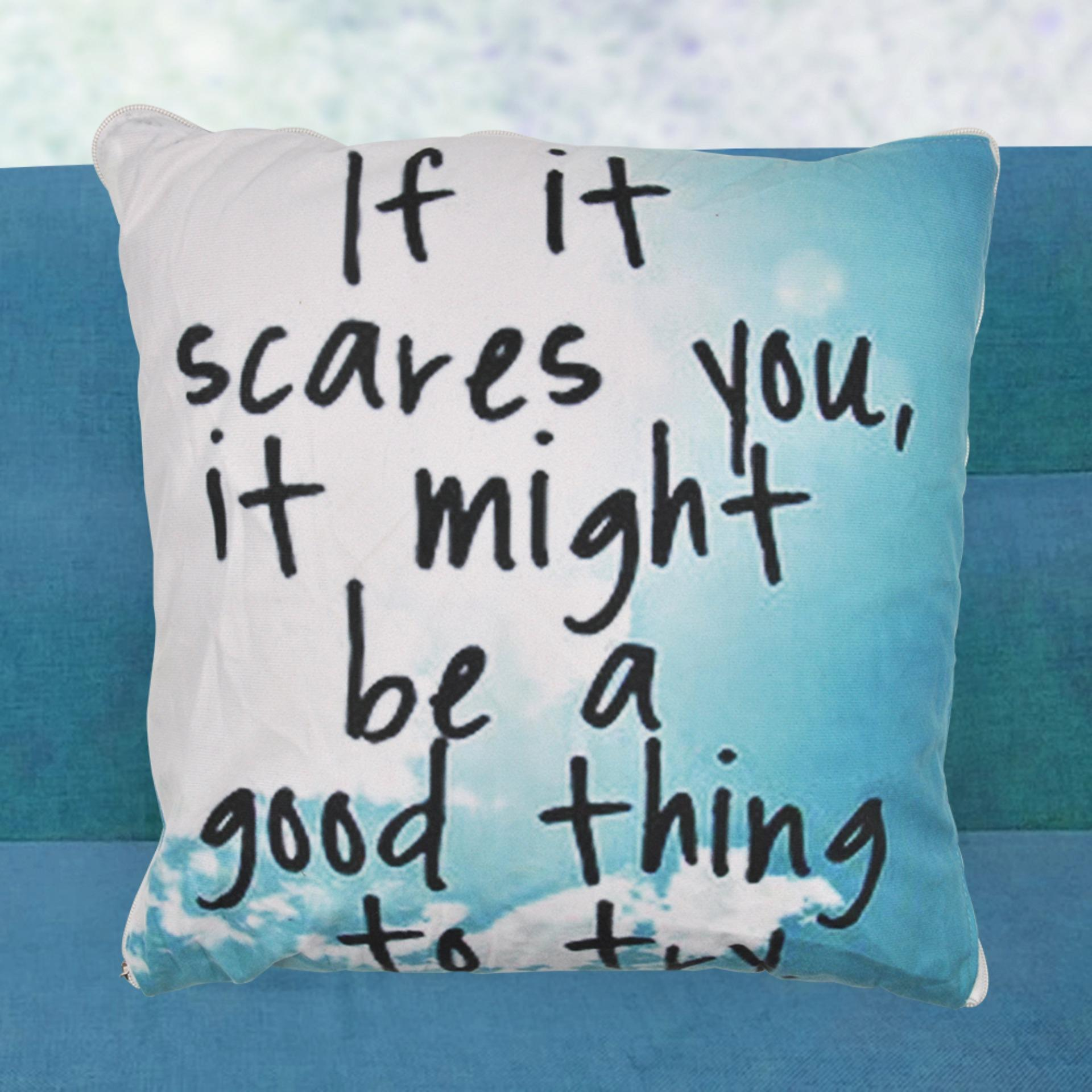 4 In 1 Motivational Quote Fleece Throw Bed Pillow Blanket Light Blue Lazada Ph