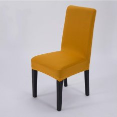 4 Pcs Simple Plain Elastic Dining Chair Cover Gold