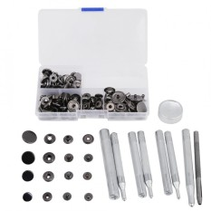 40 Sets Press Stud Snap Button Popper Fastener Leather Jeans Accessories Base Tools Black - intl