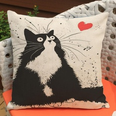 45 x 45cm Fashion Cute Cat Pattern Printed Style Pillowcase Polyester Linen Hidden Zipper Square Pillow