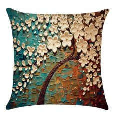 45 x 45cm Flax Single-face 3D Visual Effect Colorful Tree Zipper Throw Pillow Cover