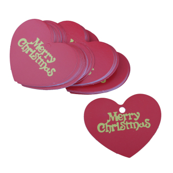 48-50pcs Merry Christmas Heart Shape Paper Hang Tags Label Cards