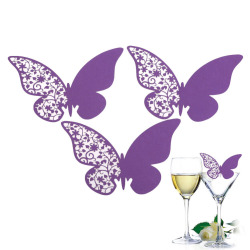 50 Pcs Butterfly Place Escort Wedding Party Wine Glass Paper Cards Purple (Intl)