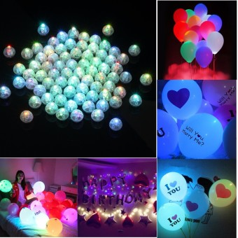 50pcs LED Light Bulb Paper Lantern Ballon Birthday Christmas Party Decor - intl
