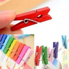 50pcs Mini Natural Wooden Clothes Po Paper Peg Clothespin Craft Clips Random - intl