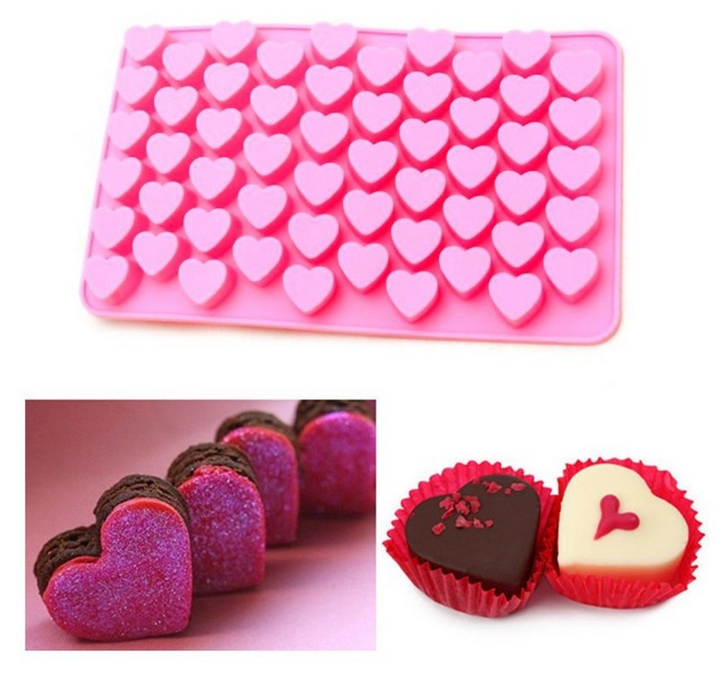 55 Holes Cute Heart Style Silicone Chocolate Mold Ice Candy Lolly Muffin Mould Valentine Gift Maker