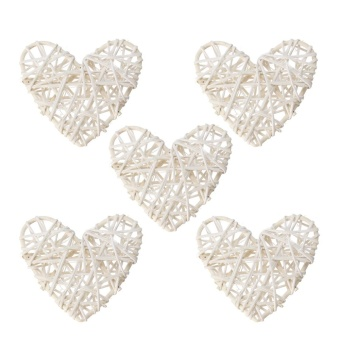 5PCS White Heart Sepak Takraw For Christmas Birthday Party & Home Wedding Party Decoration Rattan Ball - intl