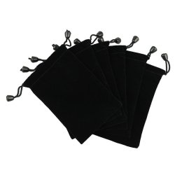 6 Pouches Black Velvet Drawstring Jewelry Bags 5' Black
