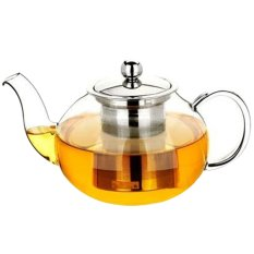 600ml Clear Glass Teapot High Temperature Resistant Loose Leaf Flower Tea Pot with Stainless Steel Infuser