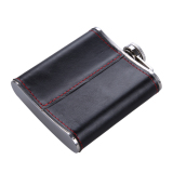 6oz Stainless Steel Hip Flask Faux Leather Wrapped Flagon Wine Pot Portable - thumbnail 4