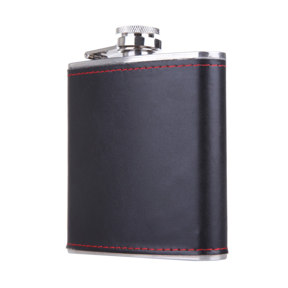 6oz Stainless Steel Hip Flask Faux Leather Wrapped Flagon Wine Pot Portable - thumbnail
