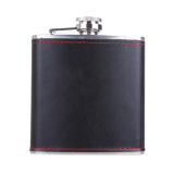 6oz Stainless Steel Hip Flask Faux Leather Wrapped Flagon Wine Pot Portable - thumbnail 1
