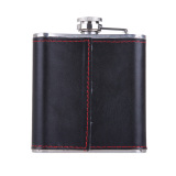6oz Stainless Steel Hip Flask Faux Leather Wrapped Flagon Wine Pot Portable - thumbnail 2