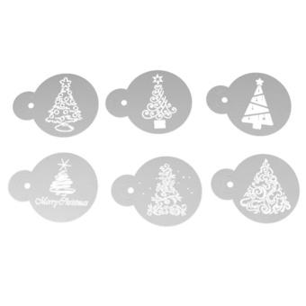 6pcs Christmas Tree Pattern Cake Cookie Stencil Set Fondant Cake Mould - intl