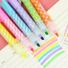 6pcs Mini Dots Striped Highlighter Fluorescent Pen Marker Painting Drawing Pens - Intl By Kingstones.
