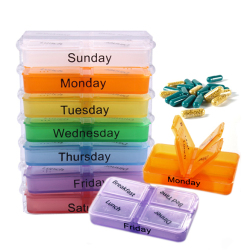 7 Day Tablet Sorter Container Colorful