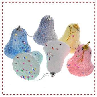 7*6cm Christmas tree ornaments sticky foam powder bell Pendant (6 Packs) - intl