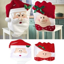 8Pcs/1Set Lovely Christmas Chair Covers Mr &Amp; Mrs Santa Clauschristmas Decoration Dining Room Chair Cover Home Party Decor - intl