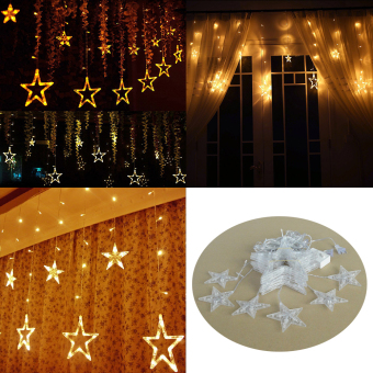 AC 110V 138-LED Star String Lights with US-plug for Garden / Room / Holiday / Christmas Decoration (Warm White) - intl