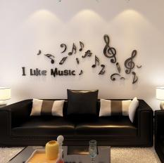 Music Notes Creative 3D Crystal Three-dimensional Wall Sticker Acrylic Wall Living Room Sofa Bedroom