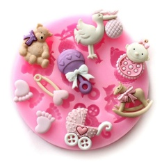 Ai Home Baby Bear Silicone Craft Mold For Fondant Cake Chocolate Decorating Candy Sugar (Pink