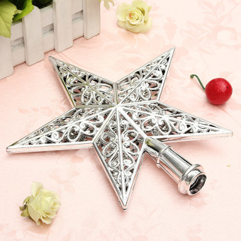 Autoleader Shiny Xmas Decorative Christmas star Tree Topper for Table Top Ornament Reusable Silver