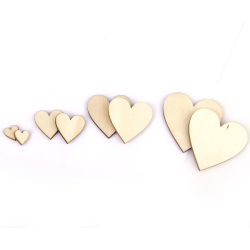 Basswood Blank Peach Heart Embellishments For Diy Crafts 10-40mm 100pieces