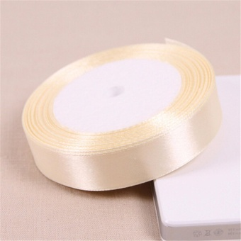 Beige 25 Yards Silk Satin Ribbon Wedding Party Decoration Gift Wrapping Christmas Year Apparel Sewing Fabric DIY 25mm - intl