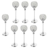BolehDeals 8 pieces 35cm Globe Pillar Votive Candle Holder Banquet Centerpiece -Silver - intl image