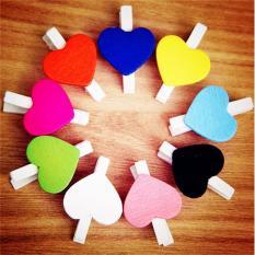 BU 50 pcs Mini Hearts Wooden Pegs Photo Clips Craft Wedding Party Decor - intl