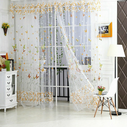 1pcs Butterfly Floral Tulle Voile Window Curtain Green 100*270cm(Note:you may need 2pcs)