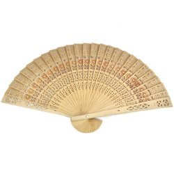 Buytra Folding Bamboo Wooden Carved Hand Fan (Brown)