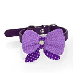 Buytra Pet Bowknot Adjustable PU Leather  Purple