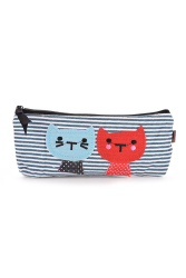 Buytra Pouch Cute Cat Pattern Pencil Case Blue