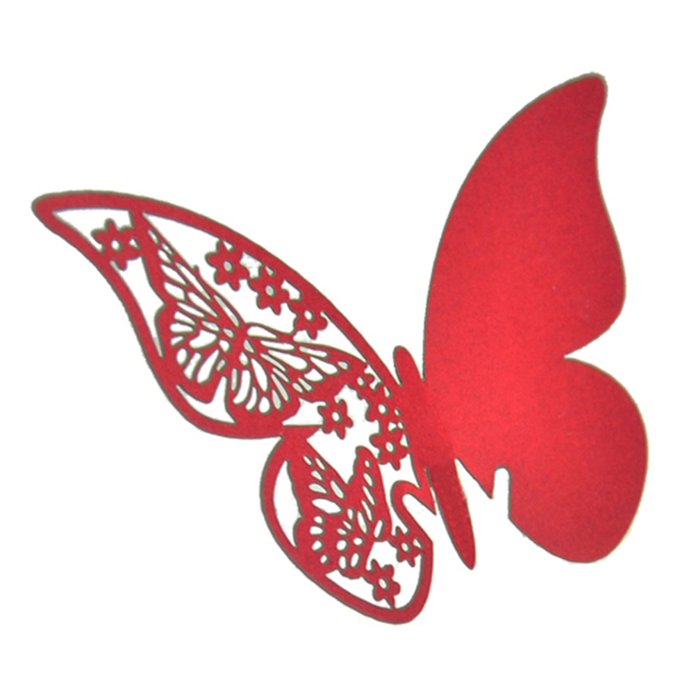 Buytra Table Mark Wine Glass Cards Favor Butterfly Red - thumbnail