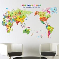 Cartoon Animal World Map DIY Vinyl Wall Stickers Kids Love Home Decor  Office Art Decals Creative