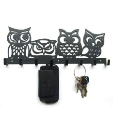 B020 Originality of Four Only OWL Creative Hook Iron Art Key Hanger Towel Rod Black Brown Decorative Wall Hangings Philippines