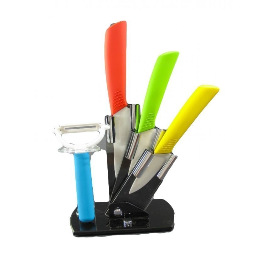 Ceramic Knife and Peeler Set with Stand - thumbnail