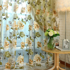 Chic Style Room Floral Tulle Voile Window Curtain Yellow 100*200CM