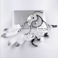 Chinese Style Taiji Dream Catcher White Feather Wall Car Hanging Decoration Ornament Crafts Lucky Gifts -