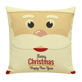 Christmas Cotton Linen Cushion Cover Throw Waist Pillow Case Sofa Home Decor - intl