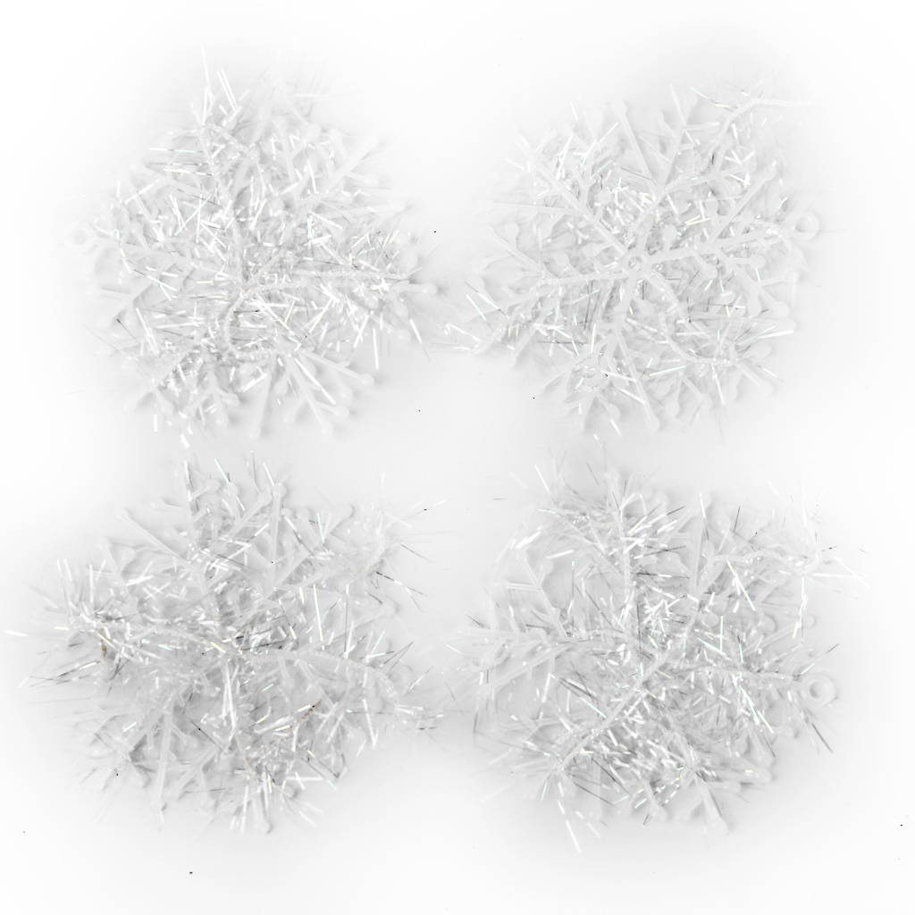 Christmas Decorations Supplies White Snow Snowflakes Hanging Ornaments 6cm Set of 60 - thumbnail