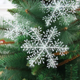 Christmas Decorations Supplies White Snow Snowflakes Hanging Ornaments 6cm Set of 60 - thumbnail 5