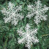Christmas Decorations Supplies White Snow Snowflakes Hanging Ornaments 6cm Set of 60 - thumbnail 3